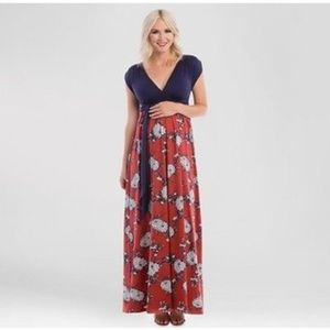 NWT Women's Navy Maternity Floral Print Maxi Dress